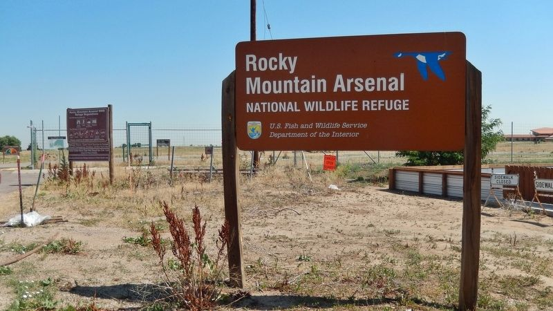 Rocky Mountain Arsenal National Wildlife Refuge Entrance Sign image. Click for full size.