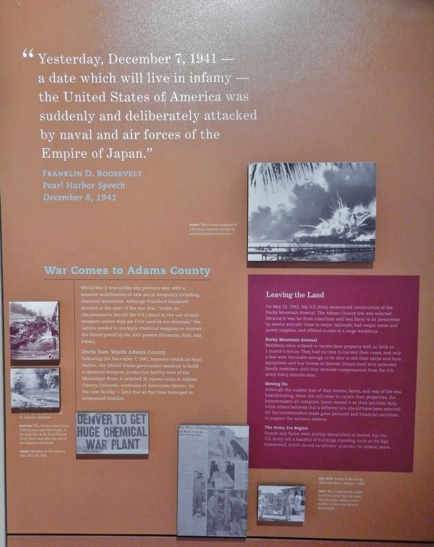 War Comes to Adams County (<i>interpretive panel inside Rocky Mountain Arsenal Visitor Center</i>) image. Click for full size.
