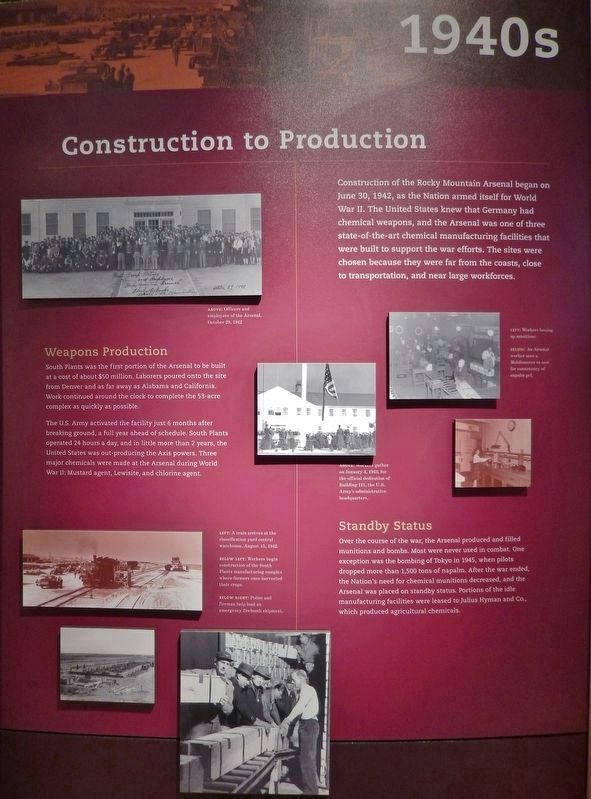 Construction to Production (<i>interpretive panel inside Rocky Mountain Arsenal Visitor Center</i>) image. Click for full size.