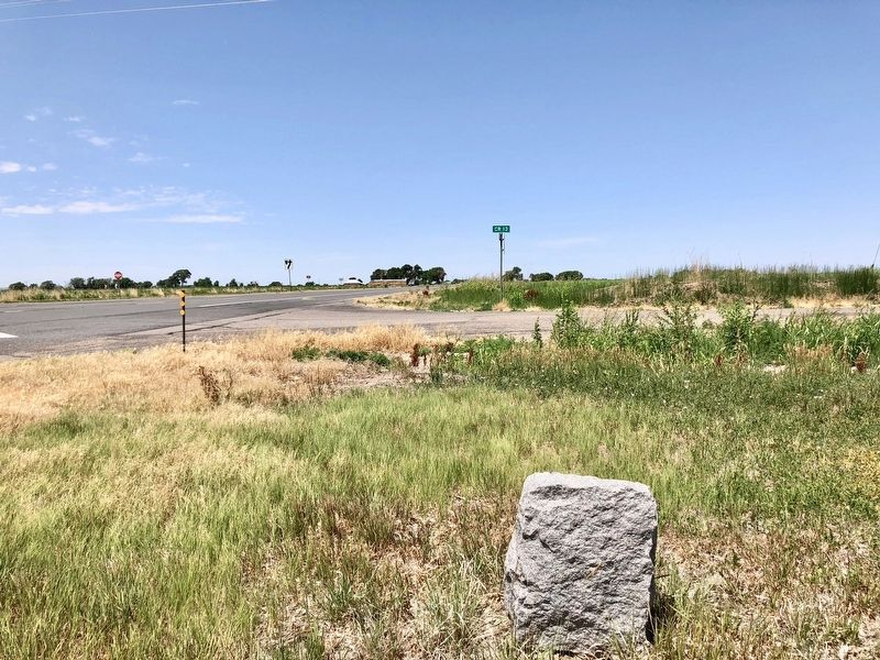View from marker towards intersection of U.S. Highway 50 and County Road 13. image. Click for full size.