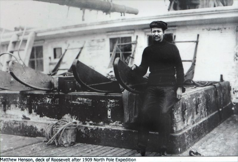 Matthew Henson on the Deck of the Roosevelt after 1909 expedition image. Click for full size.