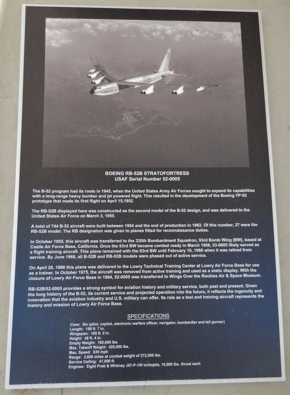 Boeing RB-52B Stratofortress Marker image. Click for full size.