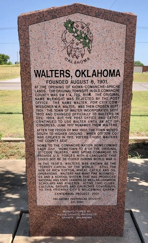 Walters, Oklahoma Marker image. Click for full size.
