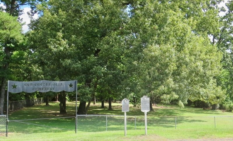 <small>C.S.A. </small> Camp Talley Marker located in front of the Old Coffeeville Cemetery. image. Click for full size.
