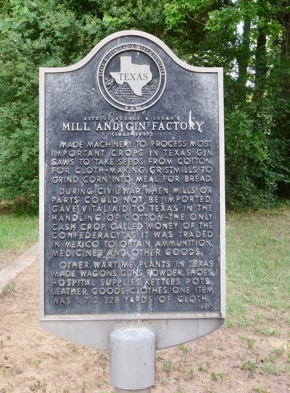 Site of Hussey & Logan's Mill and Gin Factory Marker image. Click for full size.