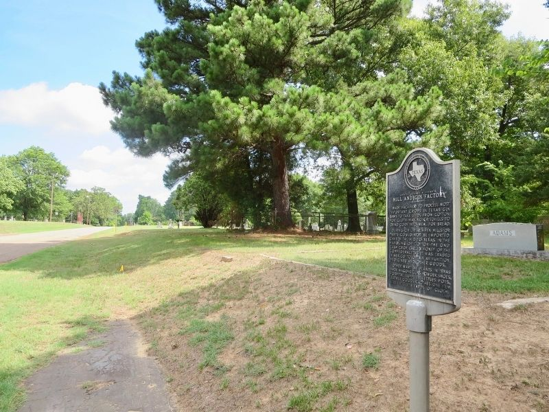 Marker is located next to the Daingerfield Cemetery (background). image. Click for full size.