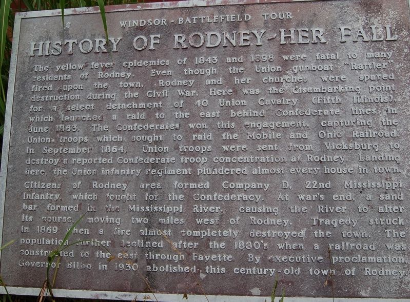 History of Rodney - Her Fall Marker image. Click for full size.