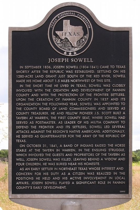Joseph Sowell Marker image. Click for full size.