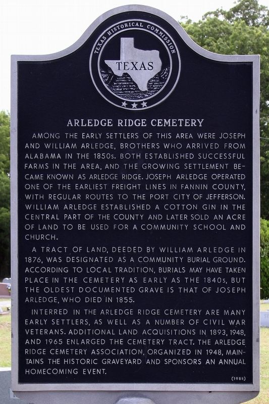 Arledge Ridge Cemetery Marker image. Click for full size.