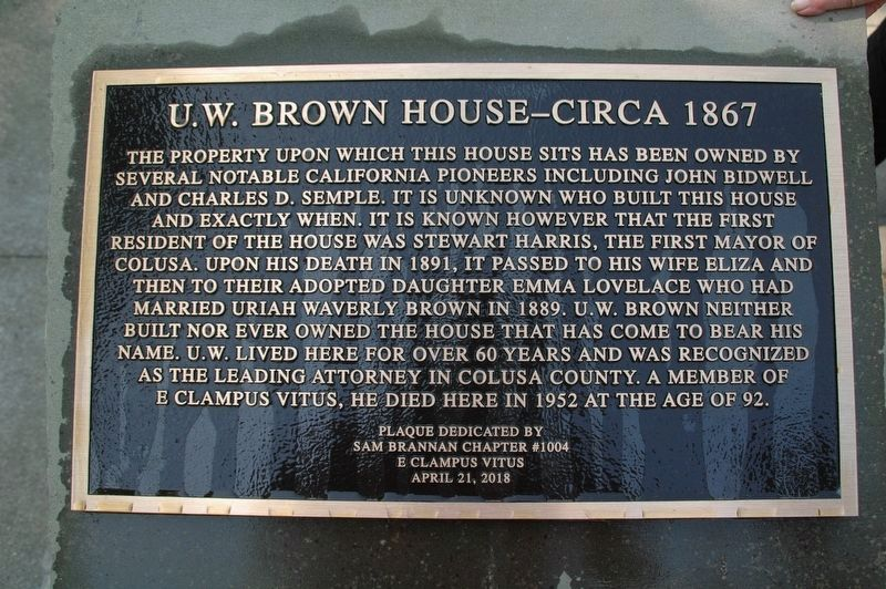 U. W. Brown House Marker image. Click for full size.