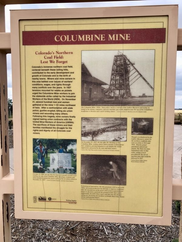 Columbine Mine Marker image. Click for full size.