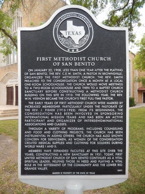 First Methodist Church of San Benito Marker image. Click for full size.