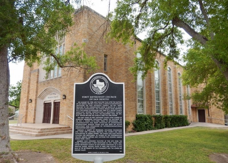First Methodist Church of San Benito Marker (<i>wide view</i>) image. Click for full size.