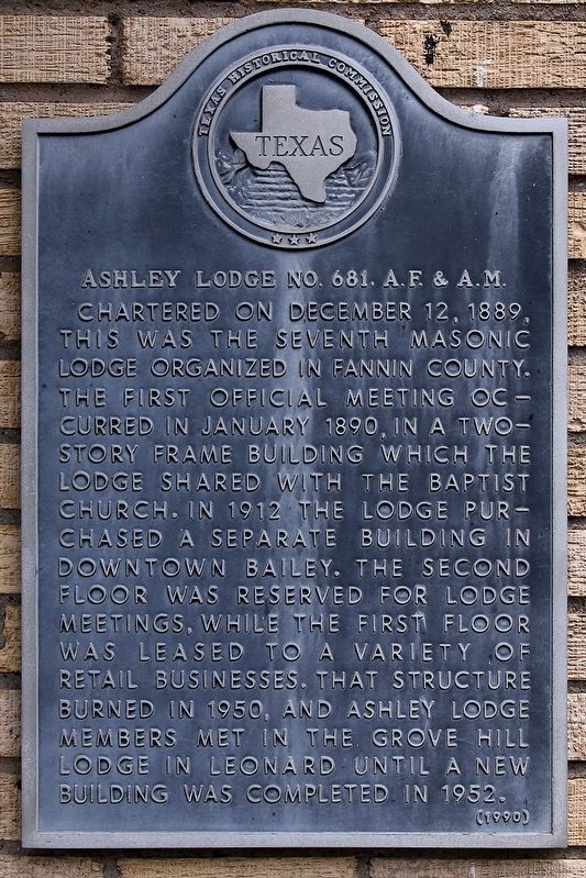 Ashley Lodge No. 681, A. F. & A. M. Marker image. Click for full size.