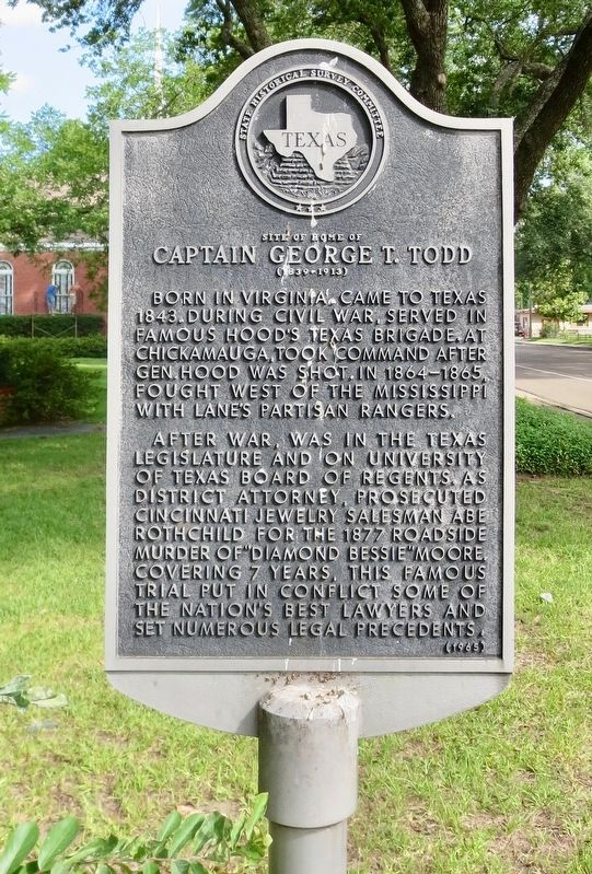 Site of Home of Captain George T. Todd Marker image. Click for full size.
