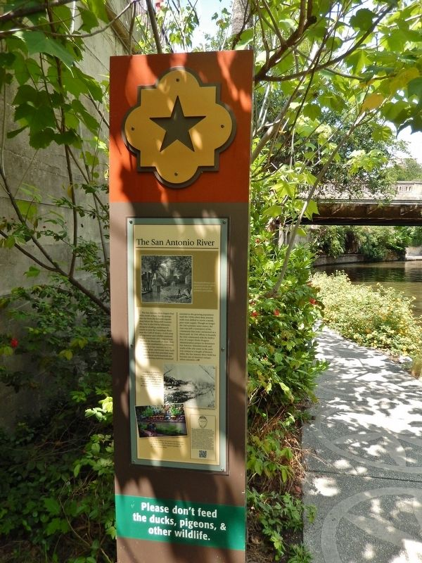 The San Antonio River Marker (<i>tall view</i>) image. Click for full size.