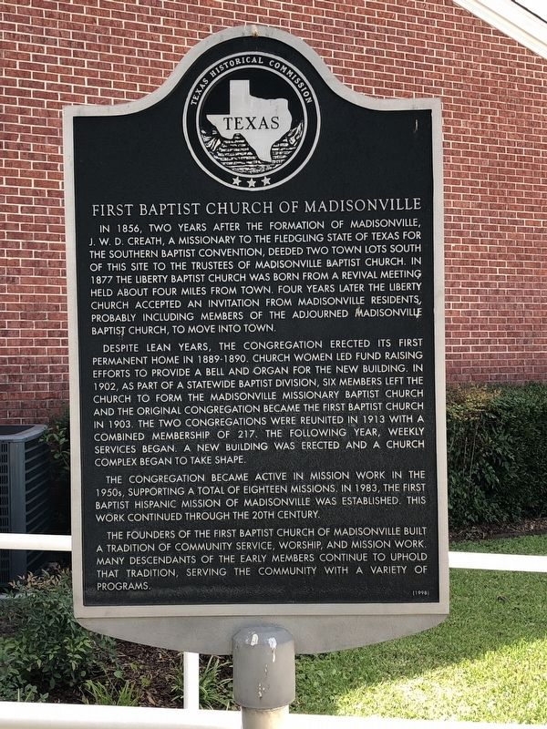 First Baptist Church of Madisonville Marker image. Click for full size.