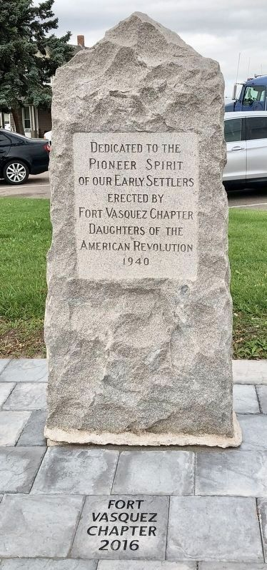 Dedicated to the Pioneer Spirit of our Early Settlers Monument. image. Click for full size.