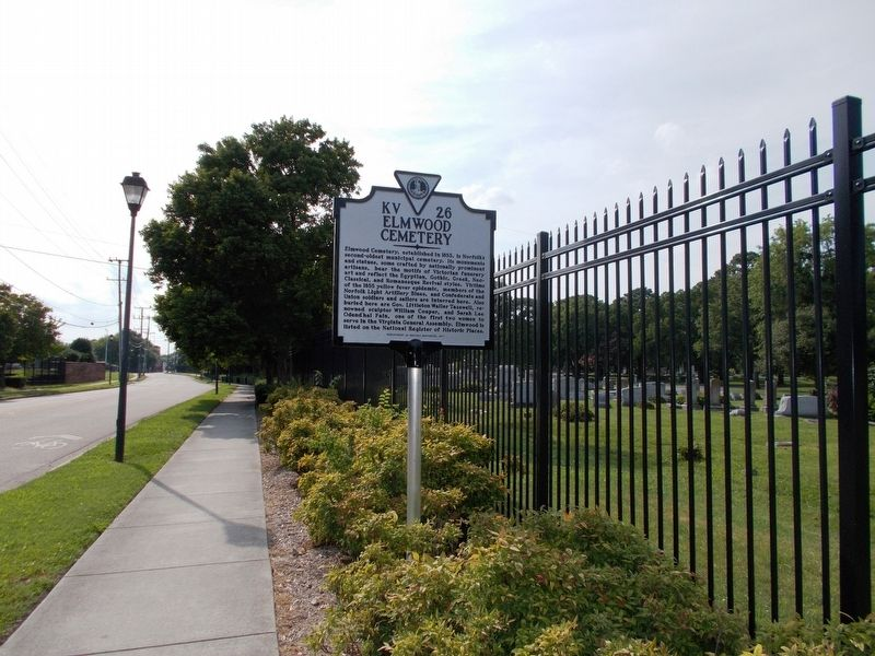 Elmwood Cemetery marker, facing west along E. Princess Anne Road. image. Click for full size.