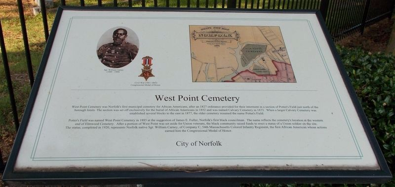 West Point Cemetery Marker. image. Click for full size.