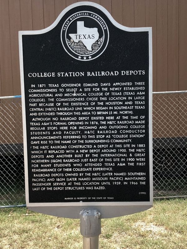 College Station Railroad Depots Marker image. Click for full size.