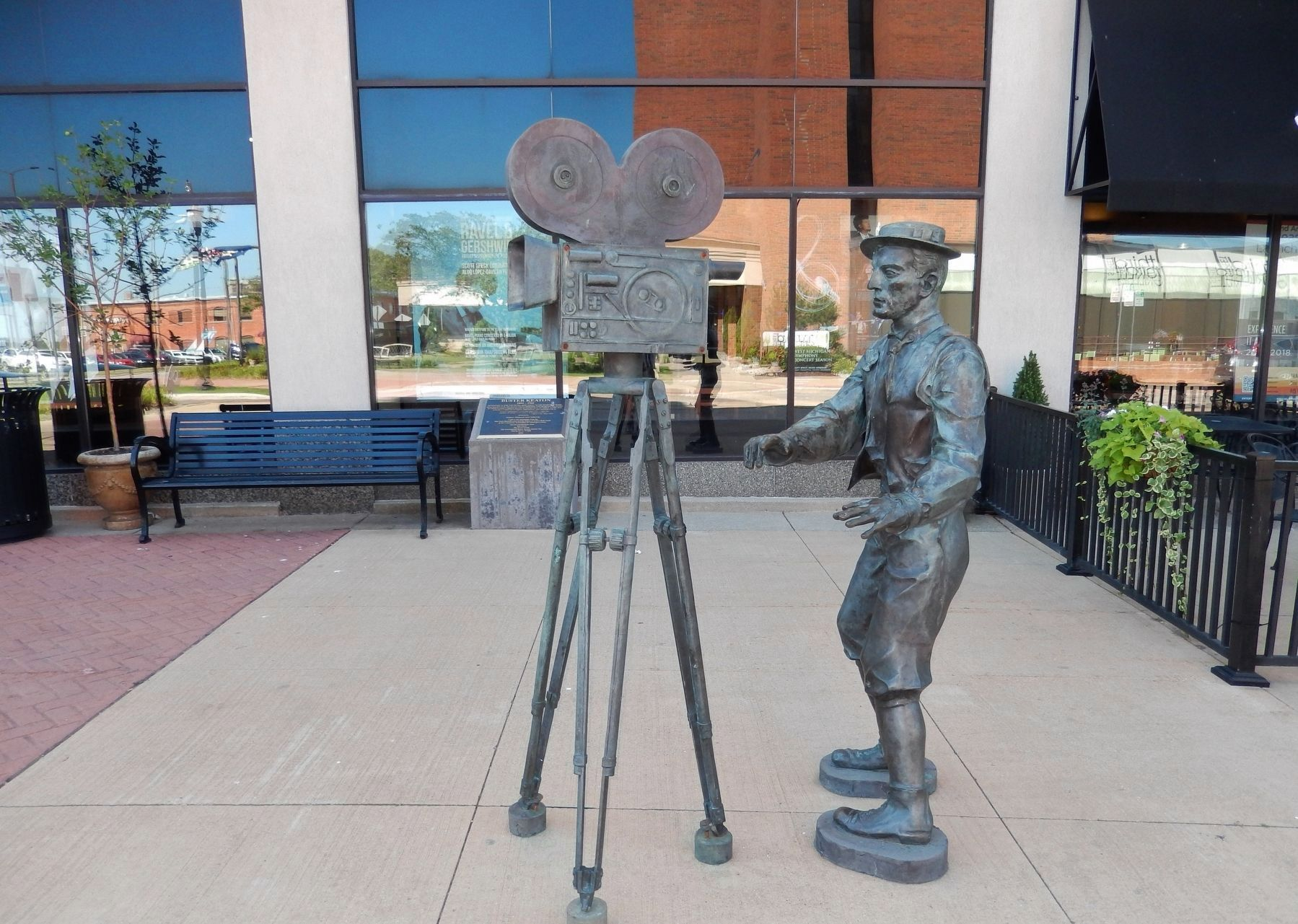 Buster Keaton Marker & Sculpture (<i>wide view; marker in background on right side of bench</i>) image. Click for full size.