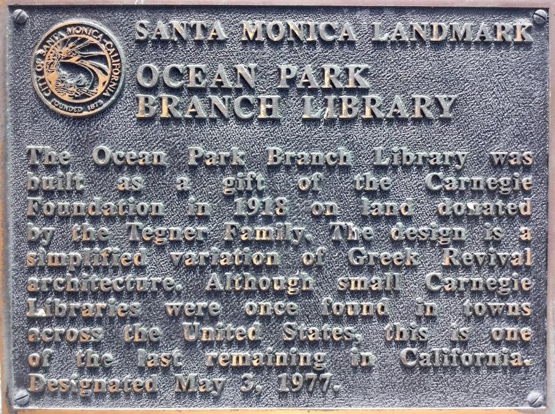 Ocean Park Branch Library Marker image. Click for full size.