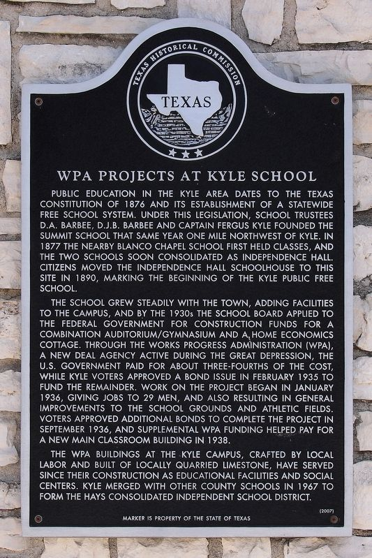 WPA Projects at Kyle School Marker image. Click for full size.