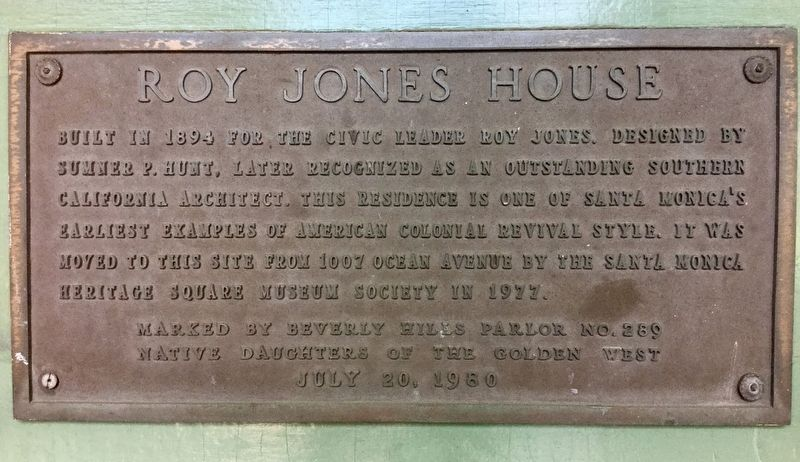 Roy Jones House Marker image. Click for full size.