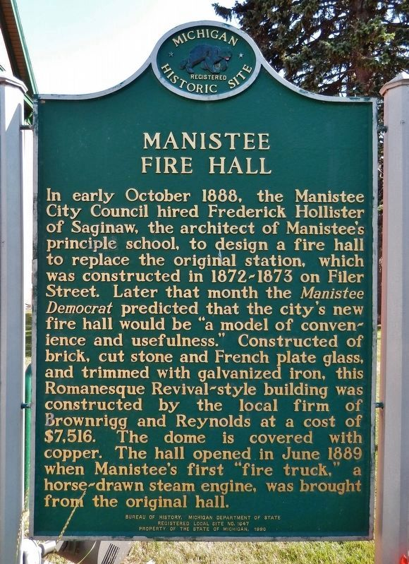 Manistee Fire Hall Marker image. Click for full size.