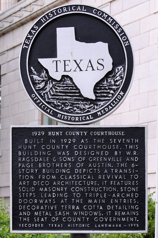 1929 Hunt County Courthouse Marker image. Click for full size.