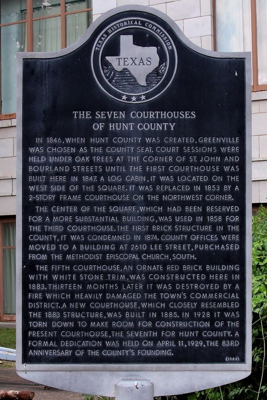 The Seven Courthouses of Hunt County Marker image. Click for full size.