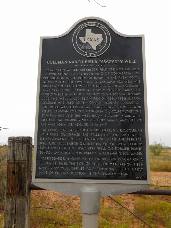 Coleman Ranch Field Discovery Well Marker image. Click for full size.