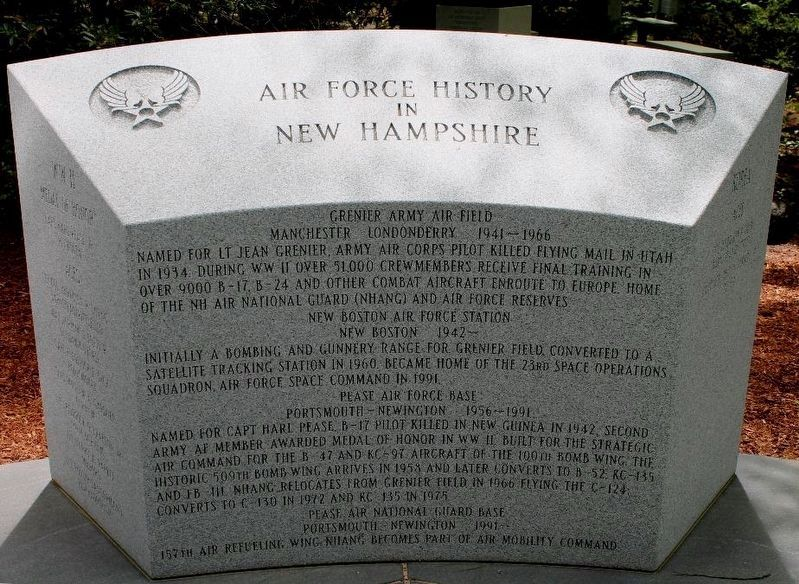 Air Force History In New Hampshire Marker image. Click for full size.