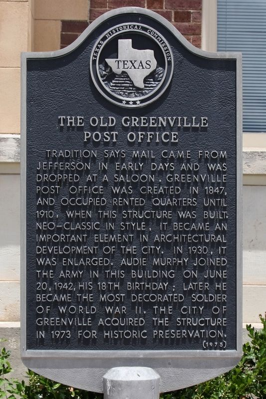 The Old Greenville Post Office Marker image. Click for full size.