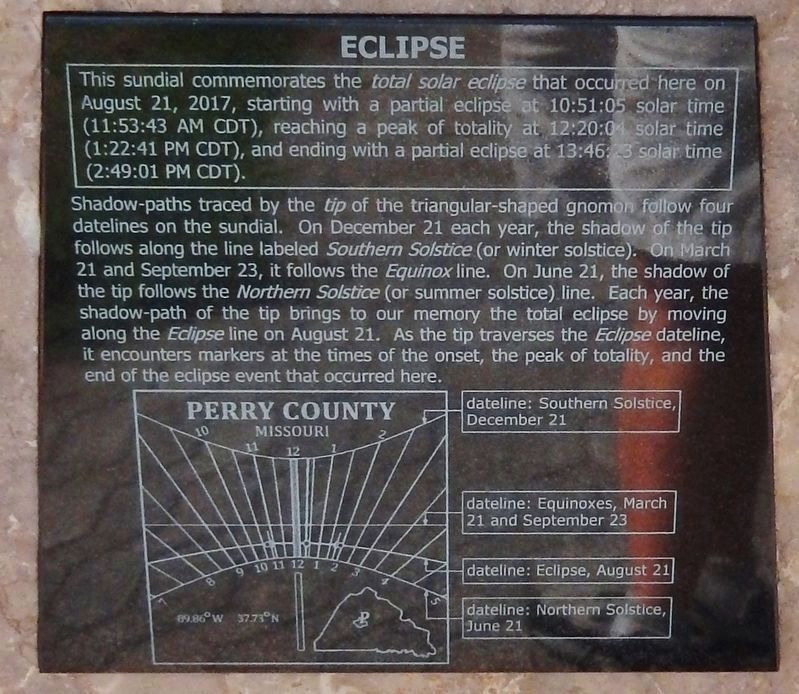"Great American Eclipse of 2017 Sundial (<i>""Eclipse"" panel</i>) image. Click for full size."