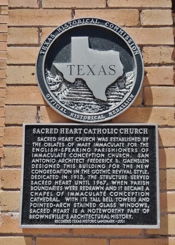 Sacred Heart Catholic Church Marker (<i>tall view; showing marker & Texas Historical Medallion</i>) image. Click for full size.