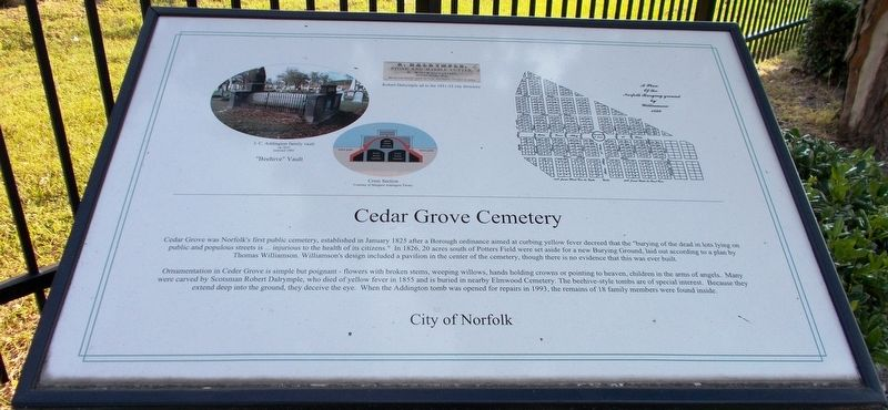 Cedar Grove Cemetery Marker. image. Click for full size.