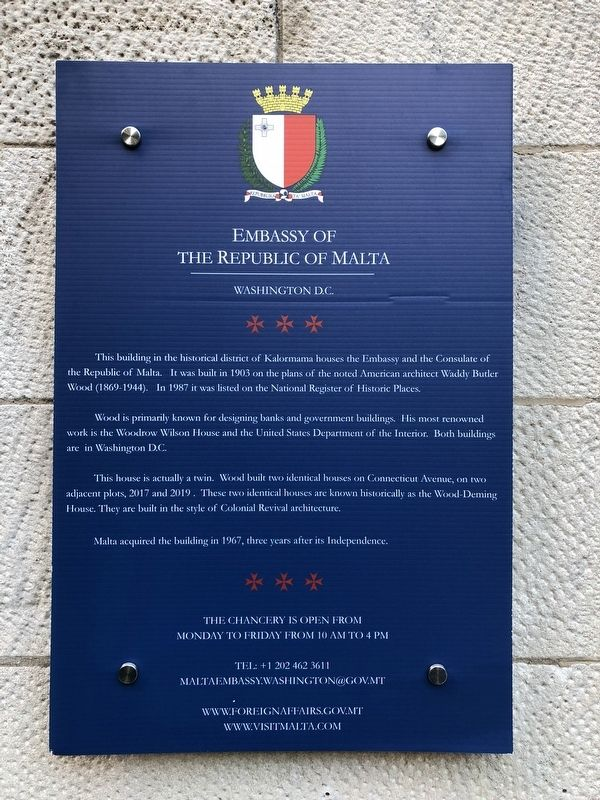 Embassy of the Republic of Malta Marker image. Click for full size.