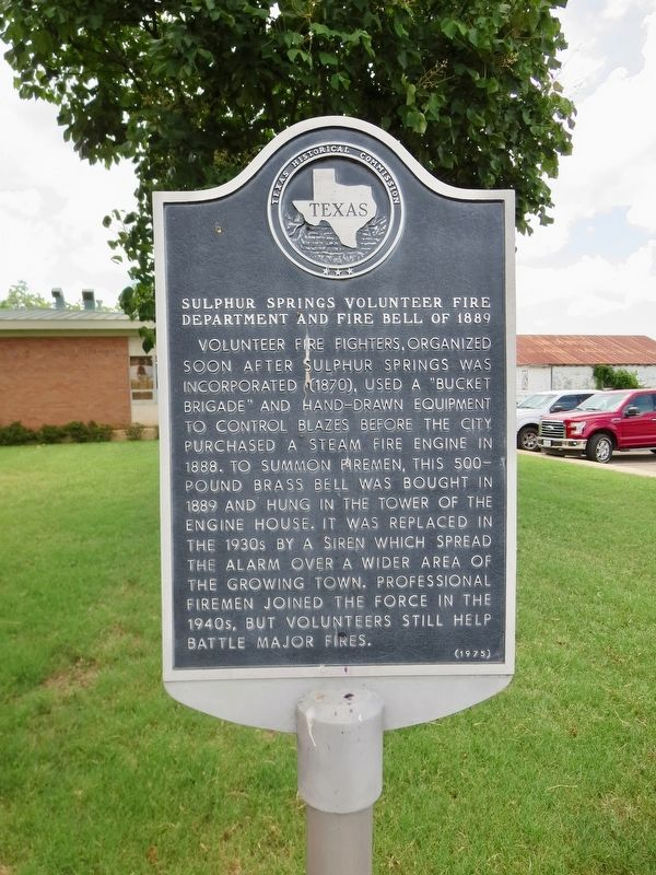 Sulphur Springs Volunteer Fire Department and Fire Bell of 1889 Marker image. Click for full size.