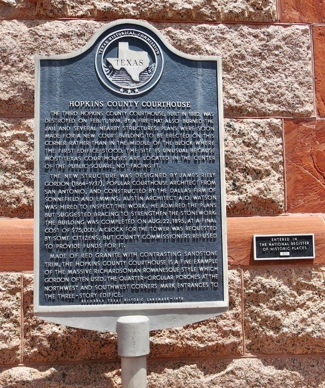 Hopkins County Courthouse Marker image. Click for full size.