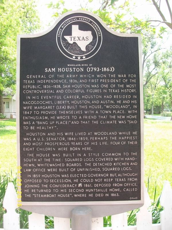 Woodland, Home of Sam Houston Marker image. Click for full size.