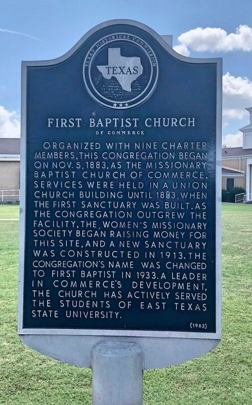 First Baptist Church of Commerce Marker image. Click for full size.