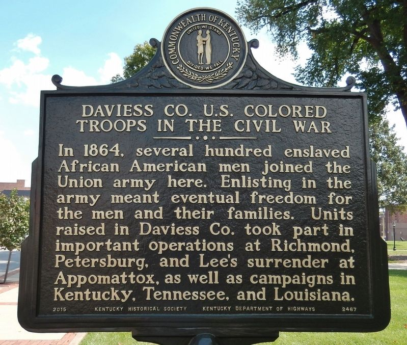 Daviess CO. U.S. Colored Troops in the Civil War Marker (<i>side 1</i>) image. Click for full size.
