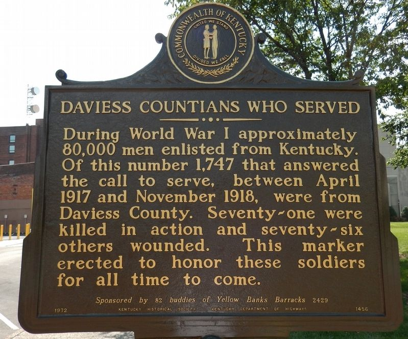 Daviess Countians Who Served Marker image. Click for full size.