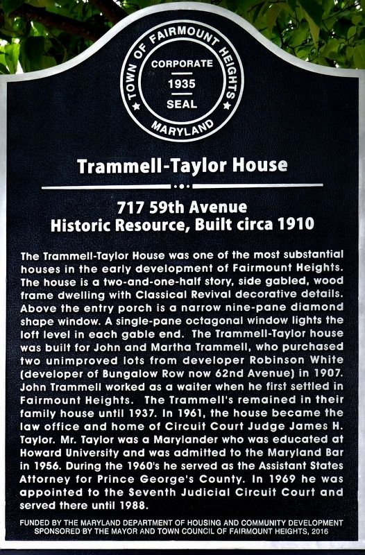 Trammell-Taylor House Marker image. Click for full size.