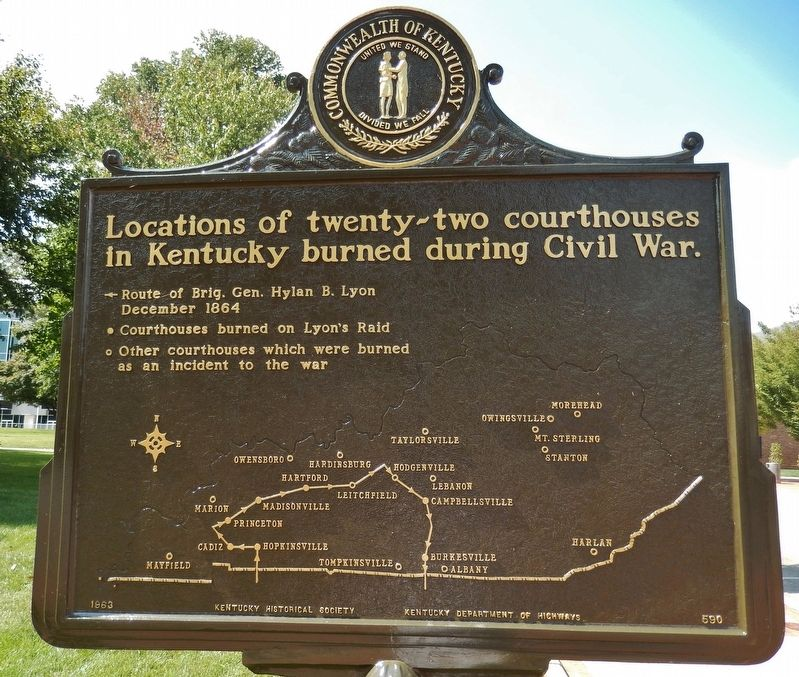 Courthouse Burned Marker (<i>side 2; map of Kentucky Courthouses burned during the Civil War</i>) image. Click for full size.