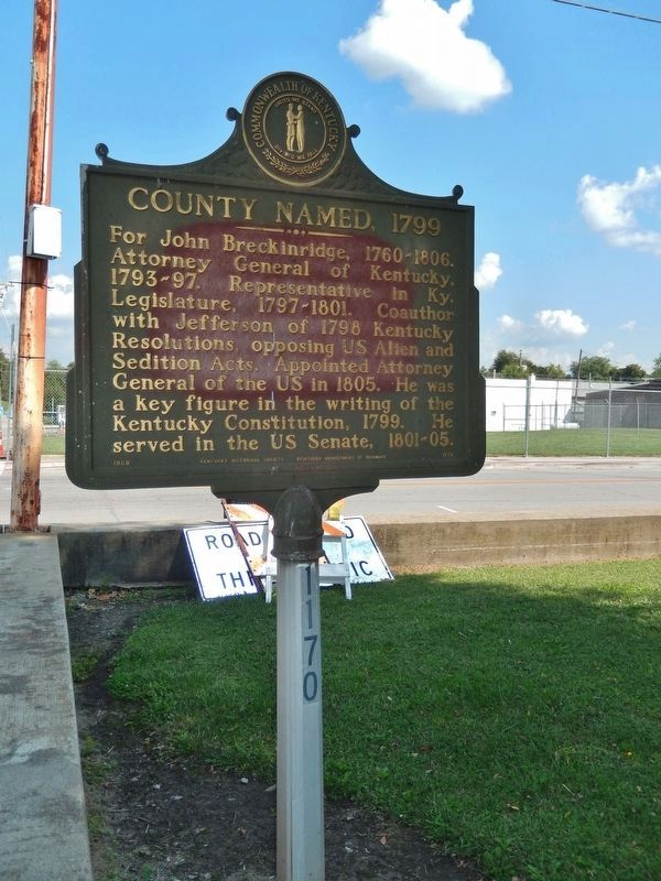County Named, 1799 Marker (<i>tall view; looking east toward South Main Street</i>) image. Click for full size.