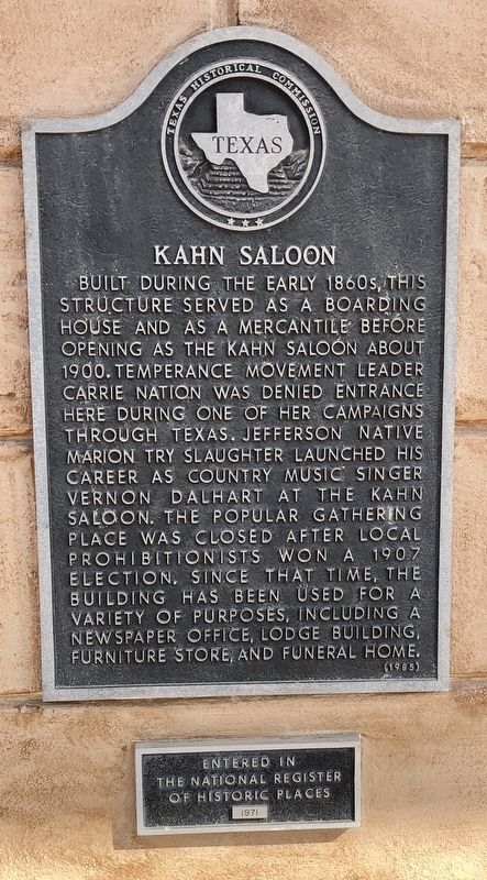 Kahn Saloon Marker image. Click for full size.