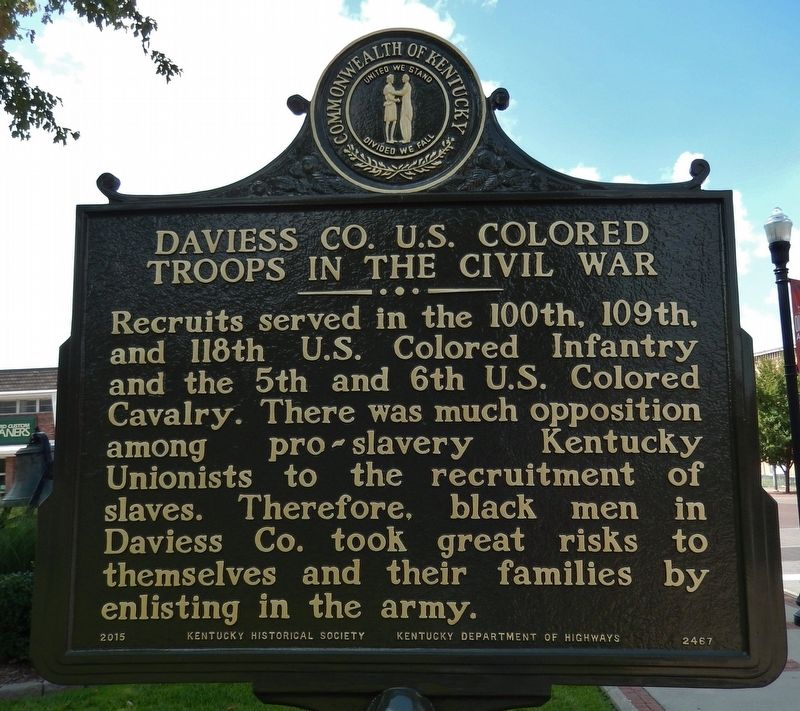 Daviess CO. U.S. Colored Troops in the Civil War Marker (<i>side 2</i>) image. Click for full size.